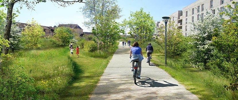 Cyclistes sur la coulée verte